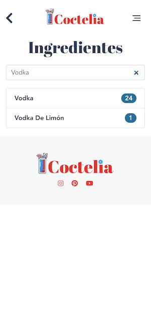 buscar cocteles por ingredientes filtrar vodka