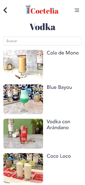 buscar-cocteles por ingredientes vodka resultados