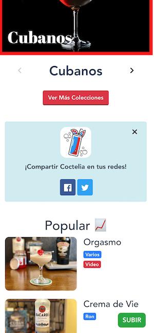 compartir app de cocteles en redes